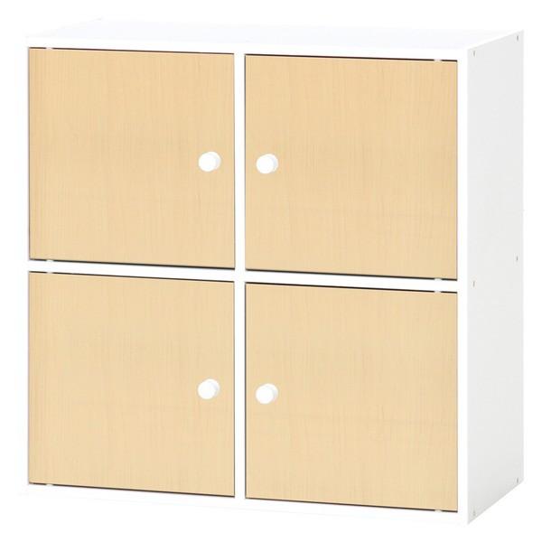 北欧風カラーボックス/収納棚 〔扉4枚付き/2段 4...