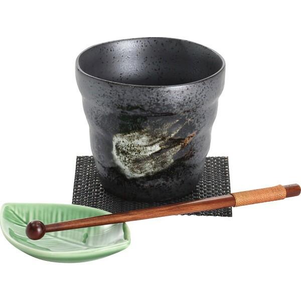 ロックカップセット 黒コースター付 黒釉白刷毛 4...