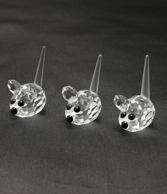 スワロフスキー クリスタル ネズミモチーフ 3匹セ...