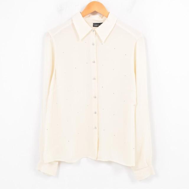 Cami ラインストーン付き 長袖 シルクシャツ レディースL 【180120】 /wal7352