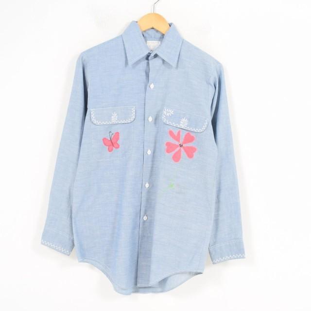 70年代 ジェイシーペニー J.C.Penney BIG MAC ビッグマック 花柄 アップリケ 長袖 シャンブレーシャツ レディースL /wan1343