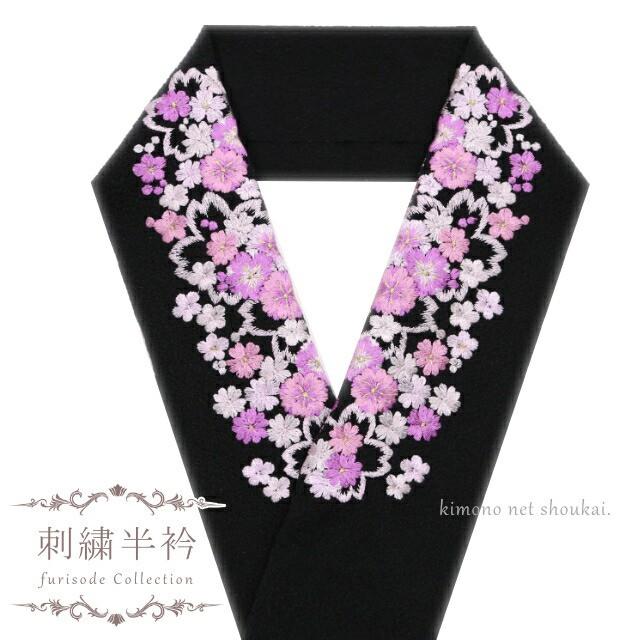 刺繍 半襟 半衿【白地×白金 大小桜尽くし 15164...