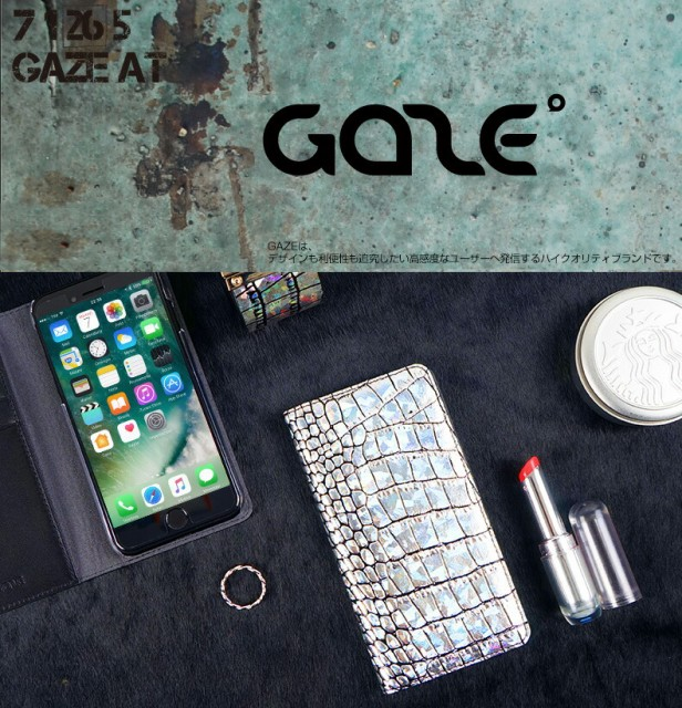 iPhone X ケース 本革 GAZE Hologram Croco Diary...