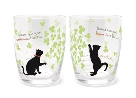 黒猫タンブラーグラス/ペアタンブラー/クローバー...