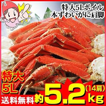 特大5Lボイル本ずわいがに肩脚 14肩(約5.2kg)【...