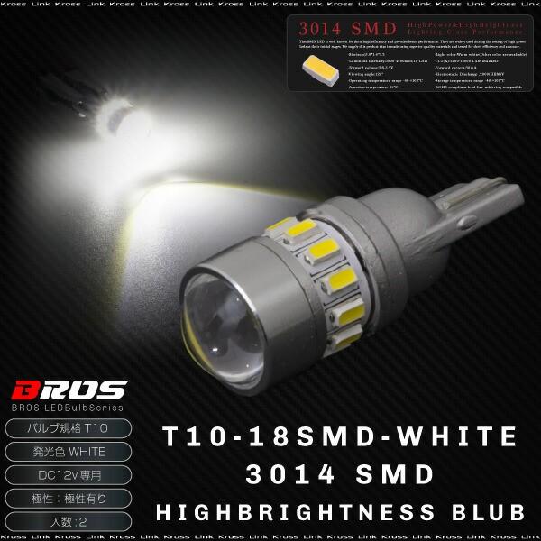 送料無料 T10 LED ホワイト 高輝度 3014SMD 18連 ...