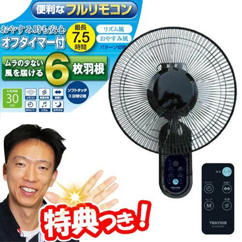 テクノス 30cm壁掛けフルリモコン扇風機 KI-W302R...