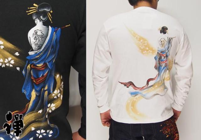 禅[ZEN] 流れ恋櫻 手描き和柄ロングTシャツ/ロン...