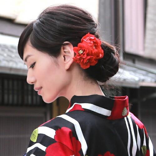 浴衣 髪飾り クリップ 2種類の小花とふんわりアー...