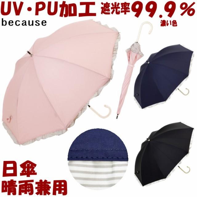 日傘 晴雨兼用 PUボーダーフリル ブラック/ネイビ...