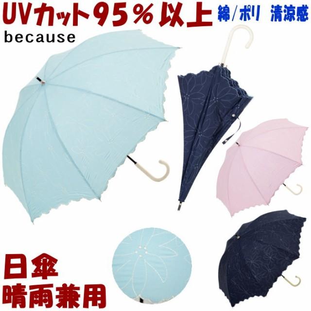 日傘 晴雨兼用 フローラルステッチ ネイビー/グリ...