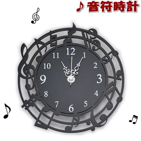 壁掛け時計 木製 音符 丸 ( 掛け時計 クロック お...