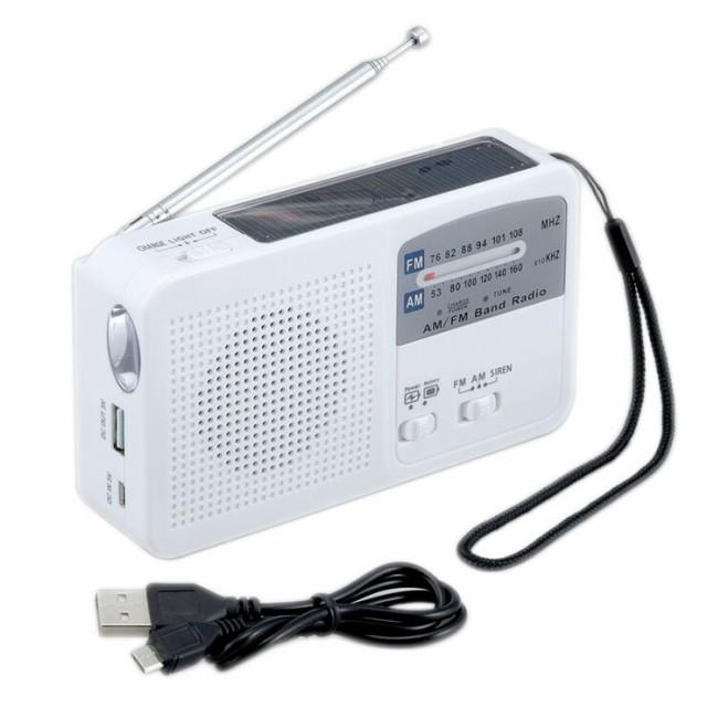 ラジオ 非常時 緊急時 LEDライト ソーラー充電 手...