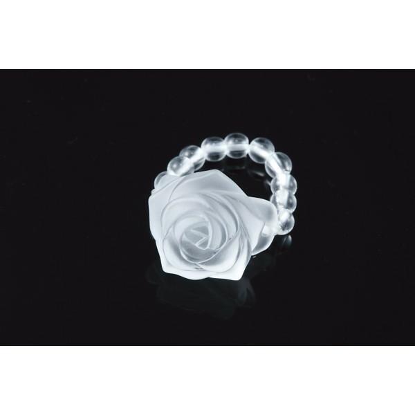 薔薇彫り天然石リング 水晶 装身具 アクセサリー ...