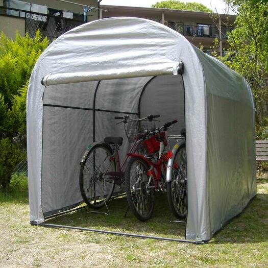 FANTY アルミ サイクル ハウス シルバー 3台用 サイクルヤード 自転車 収納庫 ガレージ サイクルハウス (代引不可)【送料無料】