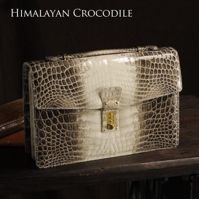 ヒマラヤ クロコダイル メンズ ハンドバッグ 横幅...