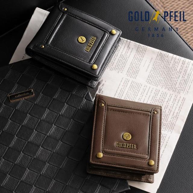 GOLD PFEIL バッファローレザー 二つ折り財布 小...