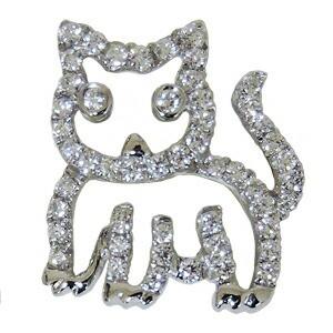 メンズブローチ 男性用 ダイヤモンドブローチ 猫 ...