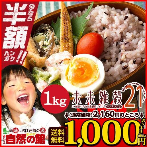 【半額】【SALE】国産 未来雑穀21+マンナン1kg 金...