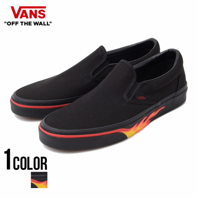 VANS バンズ Classic Slip-On Flame Wall black b...