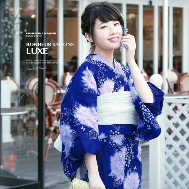 【bonheur saisonsの浴衣3点セット】青/ブルー/白...