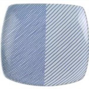 白山陶器 重ね縞 反角多用皿 21×21cm 送料込!