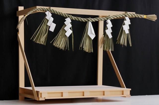 極上 神棚板 注連縄付■中型 幅65cm■檜葉無垢の...