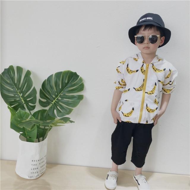 ジップアップパーカー 長袖 フード付き バナナ柄 子供用 日焼け予防 日焼け防止 紫外線対策 UV対策 ジッ