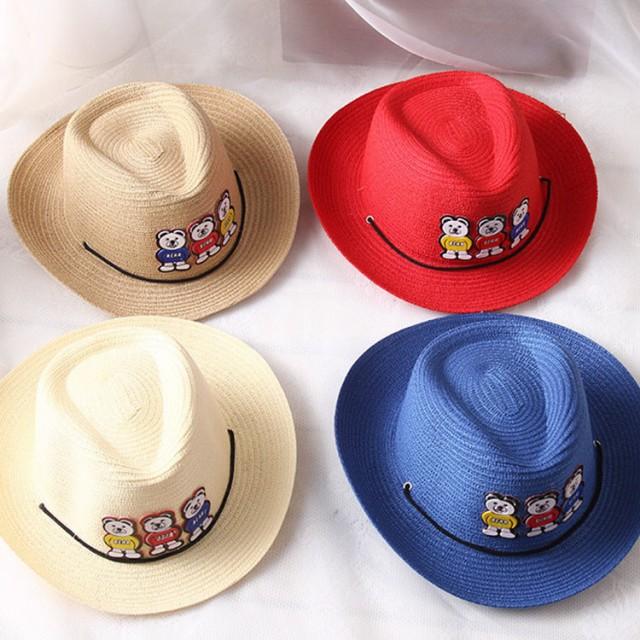 麦わら帽子 カウボーイハット 帽子 ハット 子供用 男の子 女の子 かわいい おしゃれ 春 夏 日焼け防止 紫外線防止 UVケア