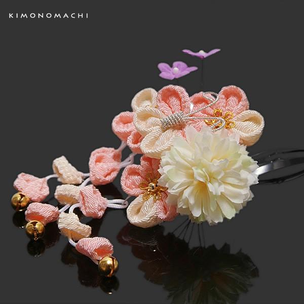 3歳向け 七五三 髪飾り「ピンク つまみのお花 蝶...