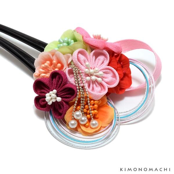 お花 髪飾り「つまみのお花と水引き飾り」 かんざ...
