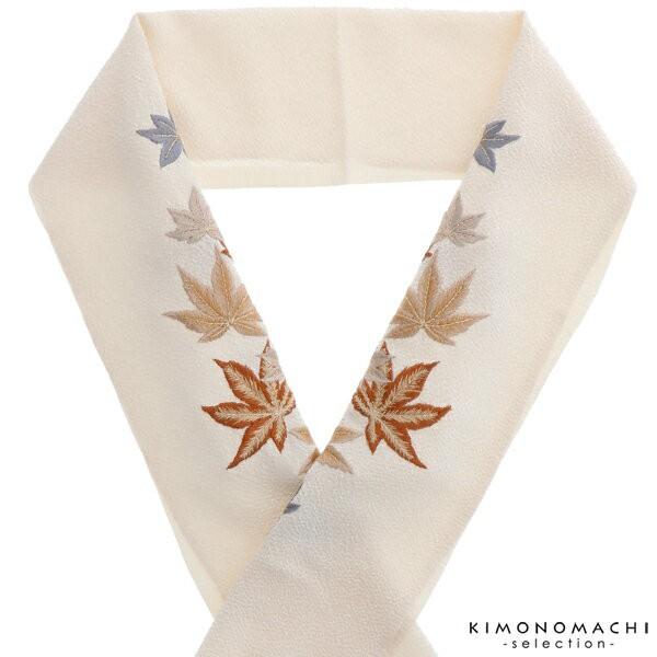 刺繍 半襟 半衿「生成り 楓」