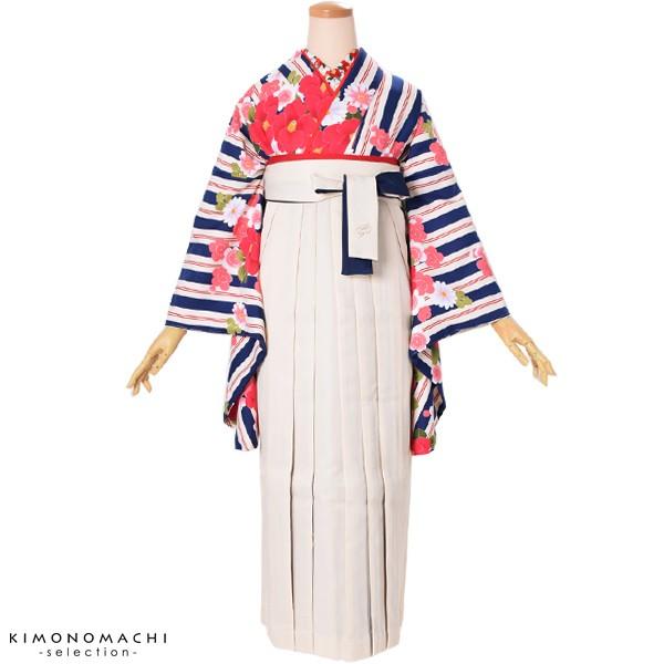 二色 女性袴単品「白×紺」SS、S、M、L、2L 5サイ...