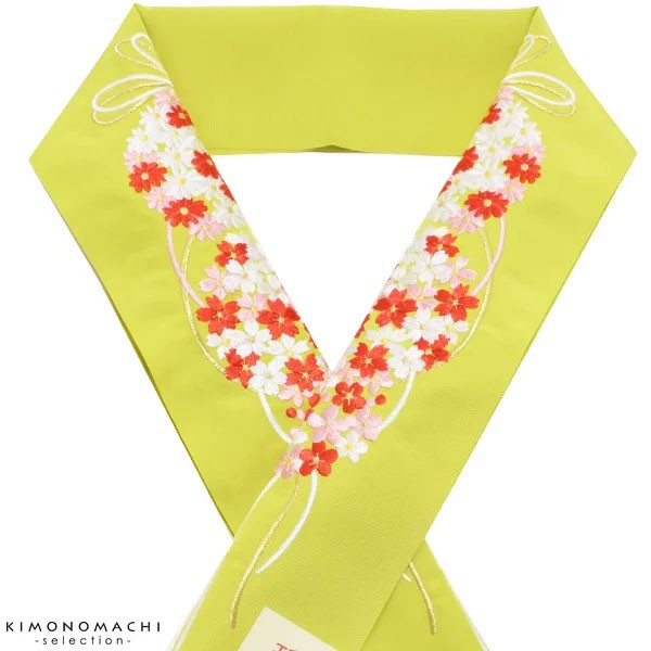 振袖小物 花くす玉 刺繍半衿 「黄緑色 花薬玉」