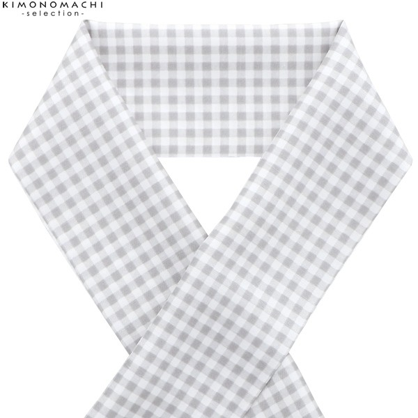 柄 ポリエステル半衿「グレー 格子」 日本製