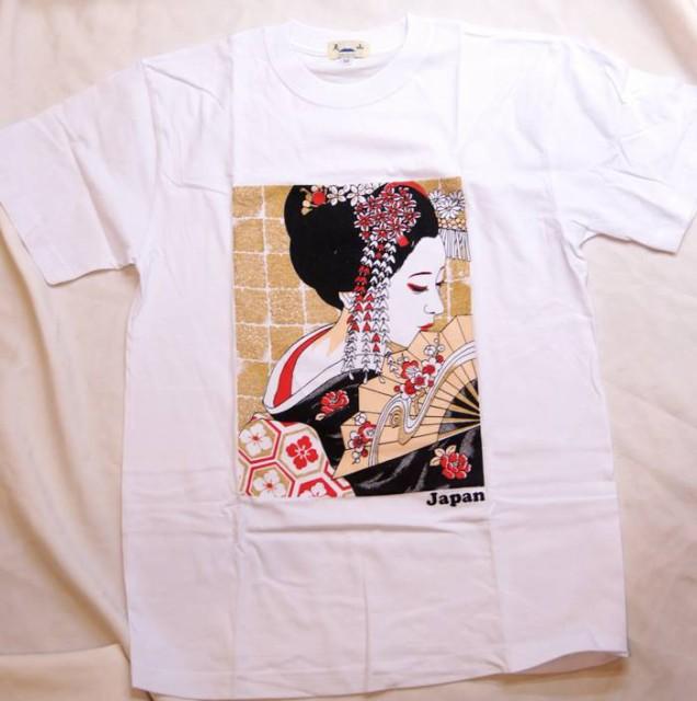花かんざし 日本女性 振り向き美人 Tシャツ 白色
