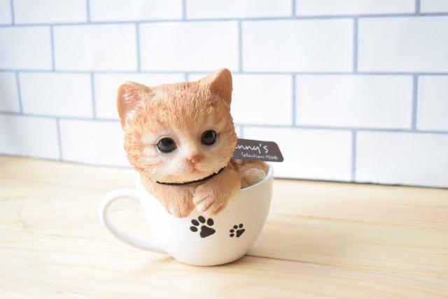 【マグカップ キャット】茶トラ 猫の置物 動物...