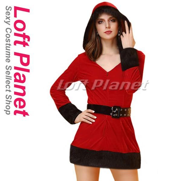 サンタ衣装 クリスマスのフード付セクシードレス ...