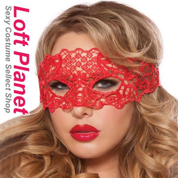 ベネチアンマスク 赤レースの仮面アイマスク セク...