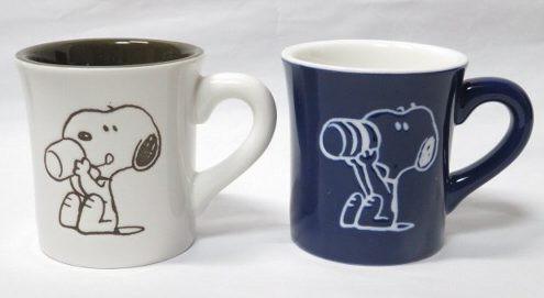 スヌーピー マグカップ ホワイト&ブル- セット...