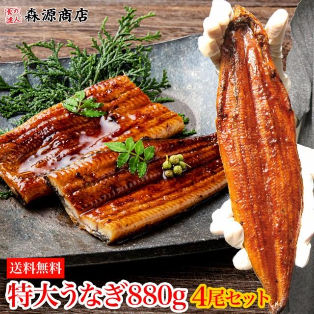 特大うなぎ蒲焼 4尾 約880g タレ付き 中国産 鰻 ...