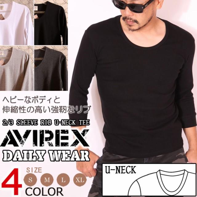 アビレックス AVIREX 七分袖 Tシャツ Uネック 無...