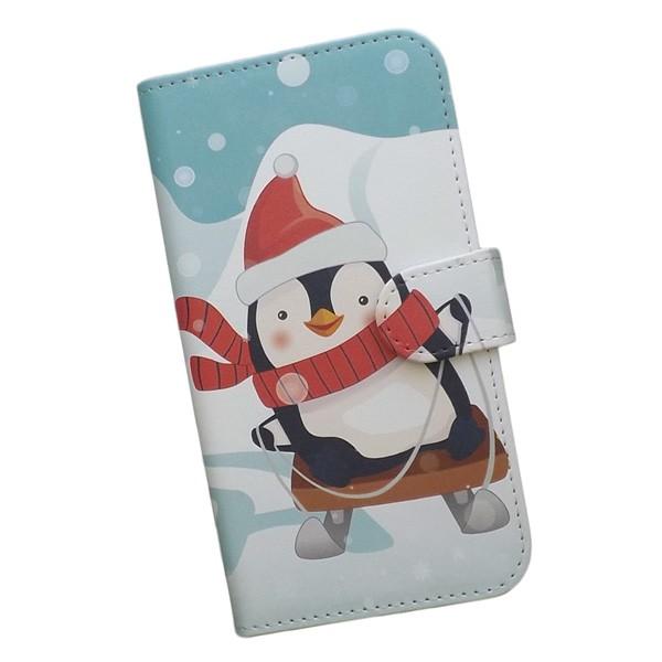 スマホケース 手帳型 au プリントケース ペンギン...