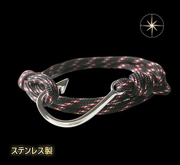 ステンレス 釣り針ブレスレット(2)黒×銀  メイン...
