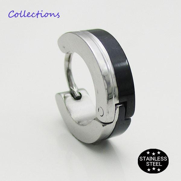 ステンレス ピアス (28)13mmハーフ 銀 黒 片耳売...