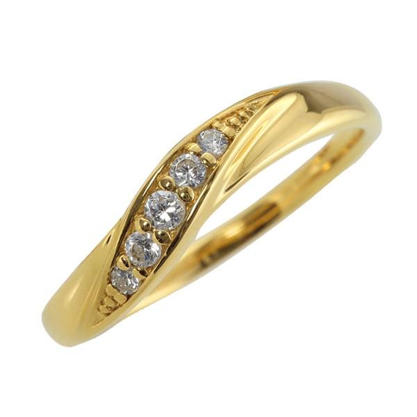 18金 指輪 ウェーブライン 天然ダイヤモンド K18 ...