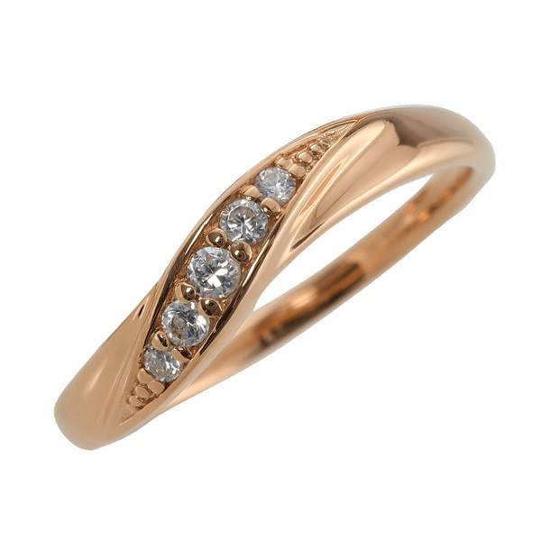 10金 指輪 ウェーブライン 天然ダイヤモンド K10 ...