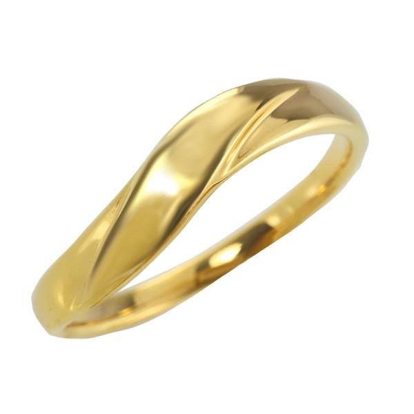 メンズリング 10金 指輪 ウェーブライン K10 シン...