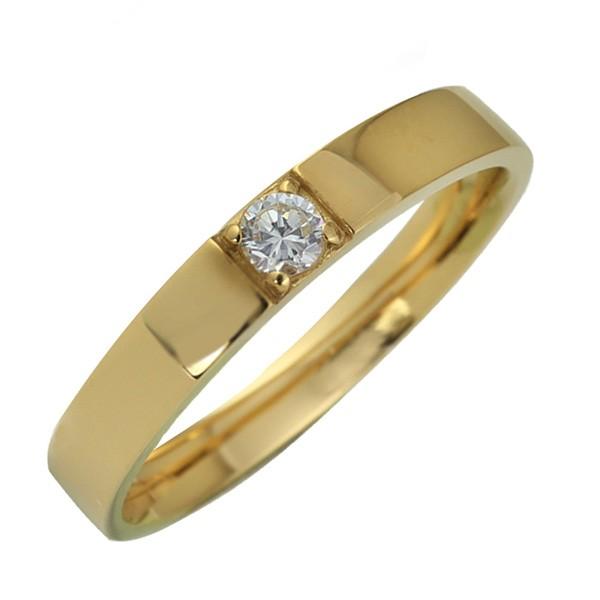 18金 指輪 天然ダイヤモンド 一粒石 レディース K...