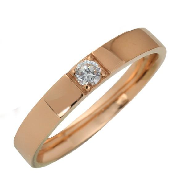 10金 指輪 天然ダイヤモンド 一粒石 レディース K...